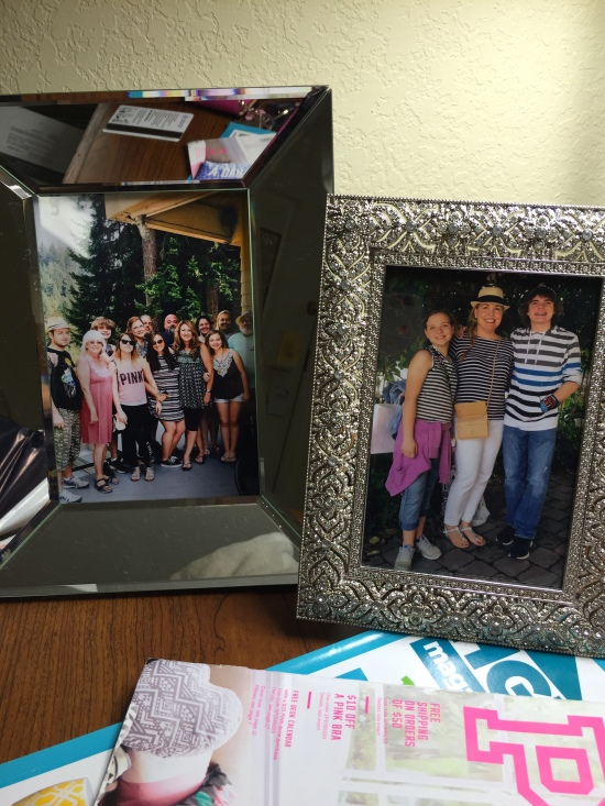 My two favorite photos framed and on the hotel desk.